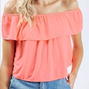 TopShop Neon Off The Shoulder Flowy Top